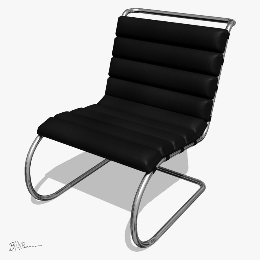 MR stol och MR stol med armar royalty-free 3d model - Preview no. 5
