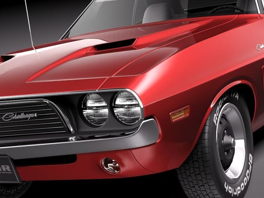Dodge Challenger 1972-1974 royalty-free 3d model - Preview no. 3