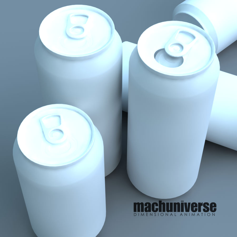 12 and 16oz Soda Cans royalty-free 3d model - Preview no. 4