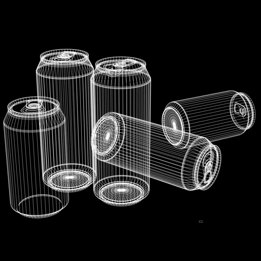 12 and 16oz Soda Cans royalty-free 3d model - Preview no. 5