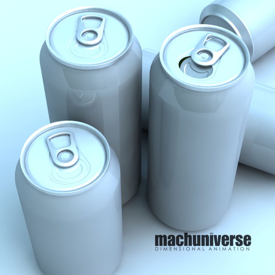 12 and 16oz Soda Cans royalty-free 3d model - Preview no. 2