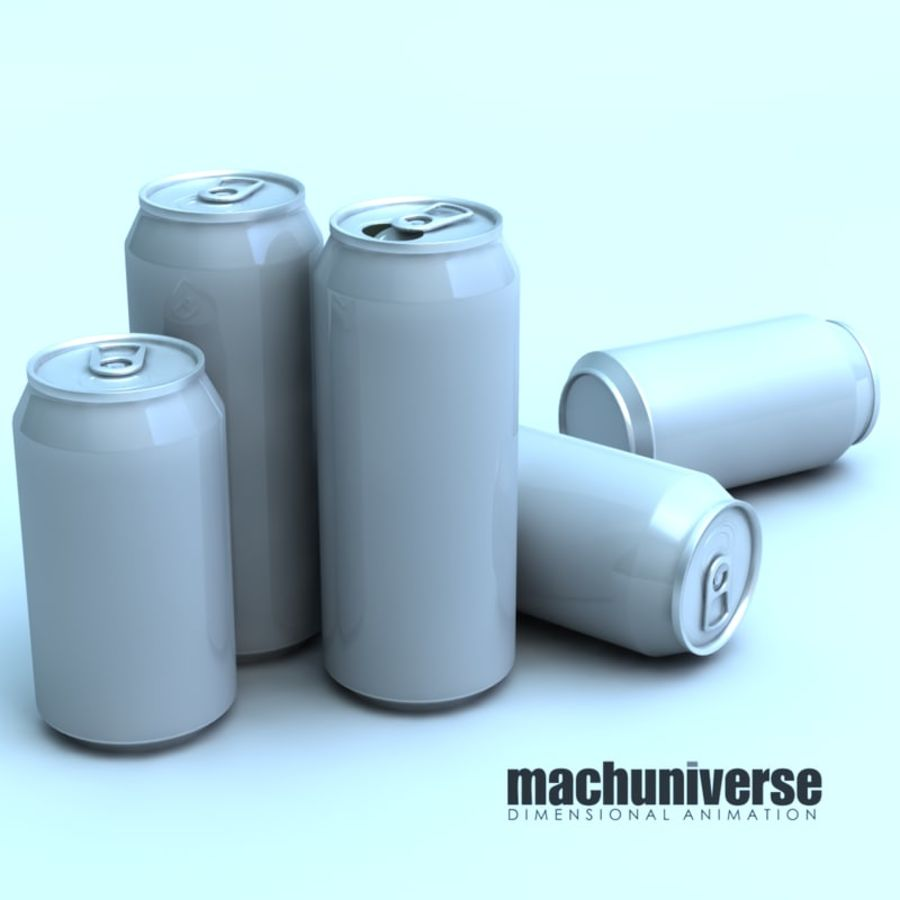 12 and 16oz Soda Cans royalty-free 3d model - Preview no. 1