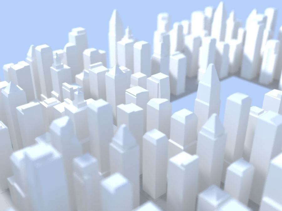 Low Poly City royalty-free 3d model - Preview no. 2