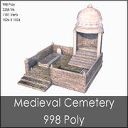 Medieval Cemetery, Low Poly, Textured 3d model