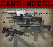 Cartoon M16 Game Model 3d model
