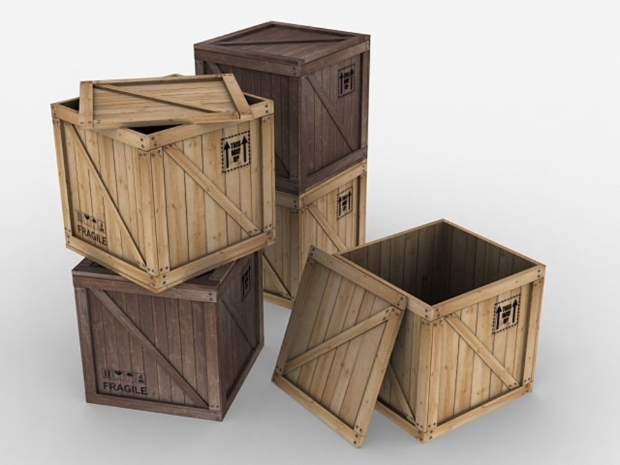 Wooden Crate - box container royalty-free 3d model - Preview no. 2