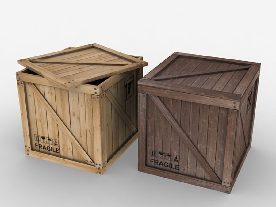 Wooden Crate - box container royalty-free 3d model - Preview no. 1