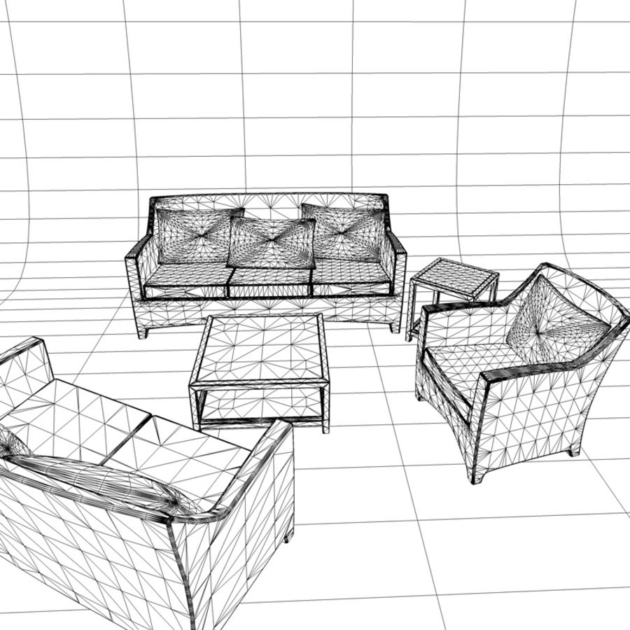 Sofa lounge chair and coffee table, exterior furniture 3D Model $15