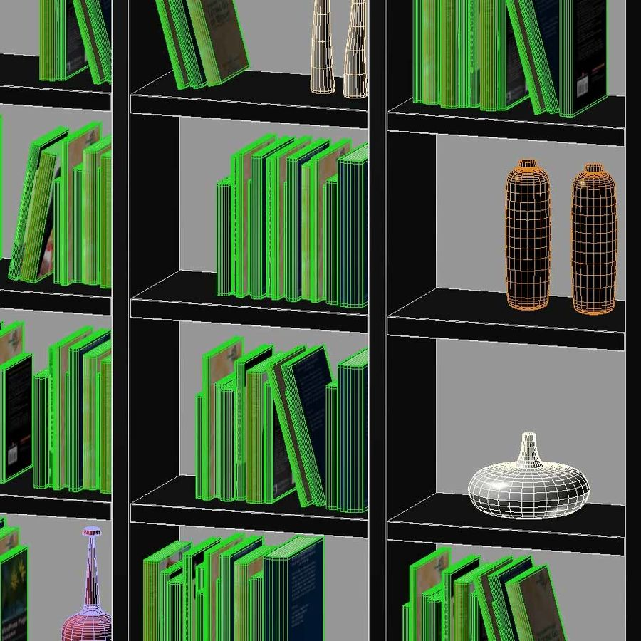 Library with books and vases royalty-free 3d model - Preview no. 3