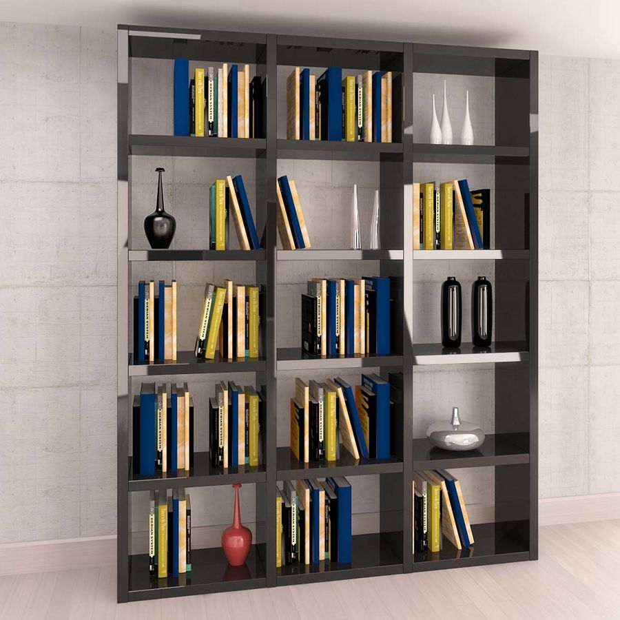 Library with books and vases royalty-free 3d model - Preview no. 1