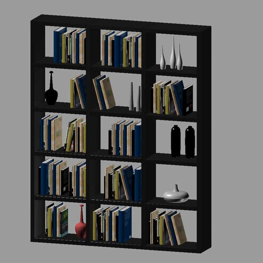 Library with books and vases royalty-free 3d model - Preview no. 2