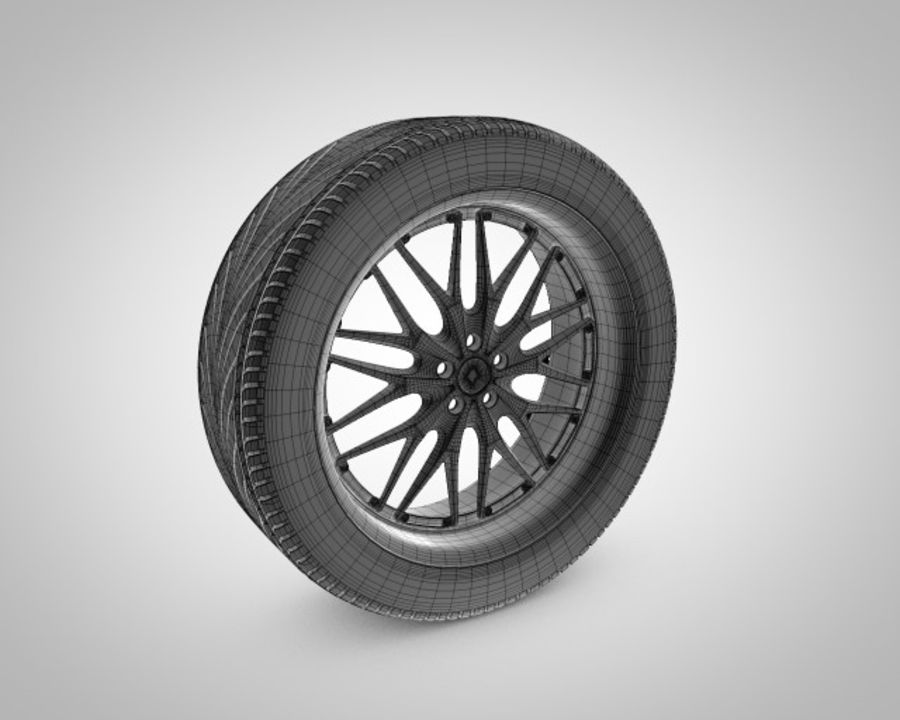 Tire with rim royalty-free 3d model - Preview no. 2