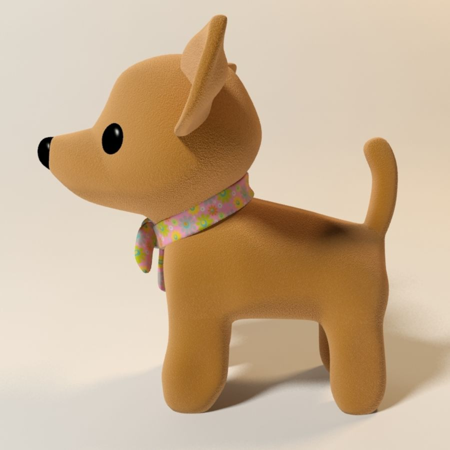 dog soft toy realistic royalty-free 3d model - Preview no. 5
