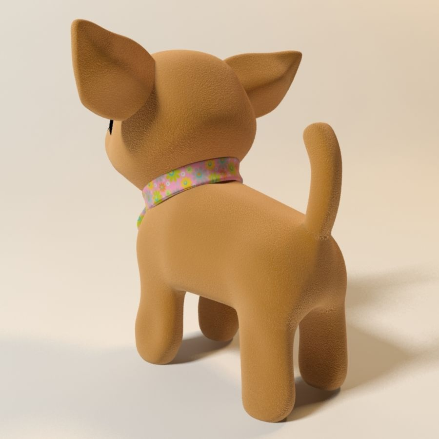 dog soft toy realistic royalty-free 3d model - Preview no. 6