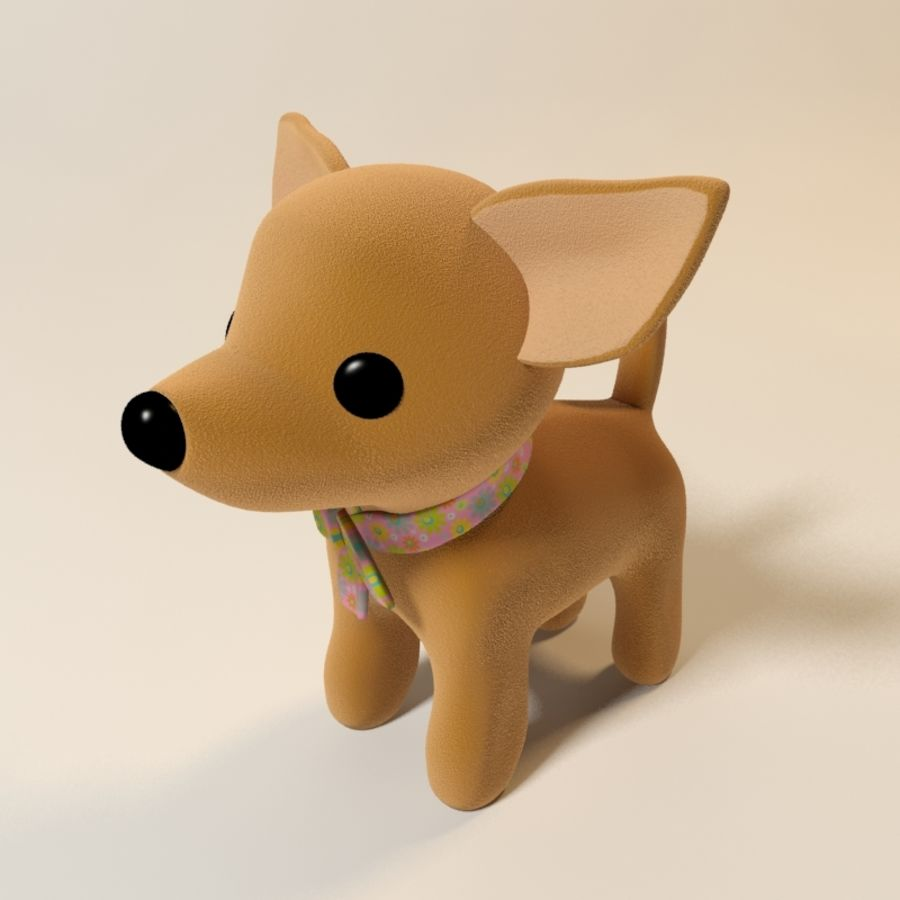 dog soft toy realistic royalty-free 3d model - Preview no. 8