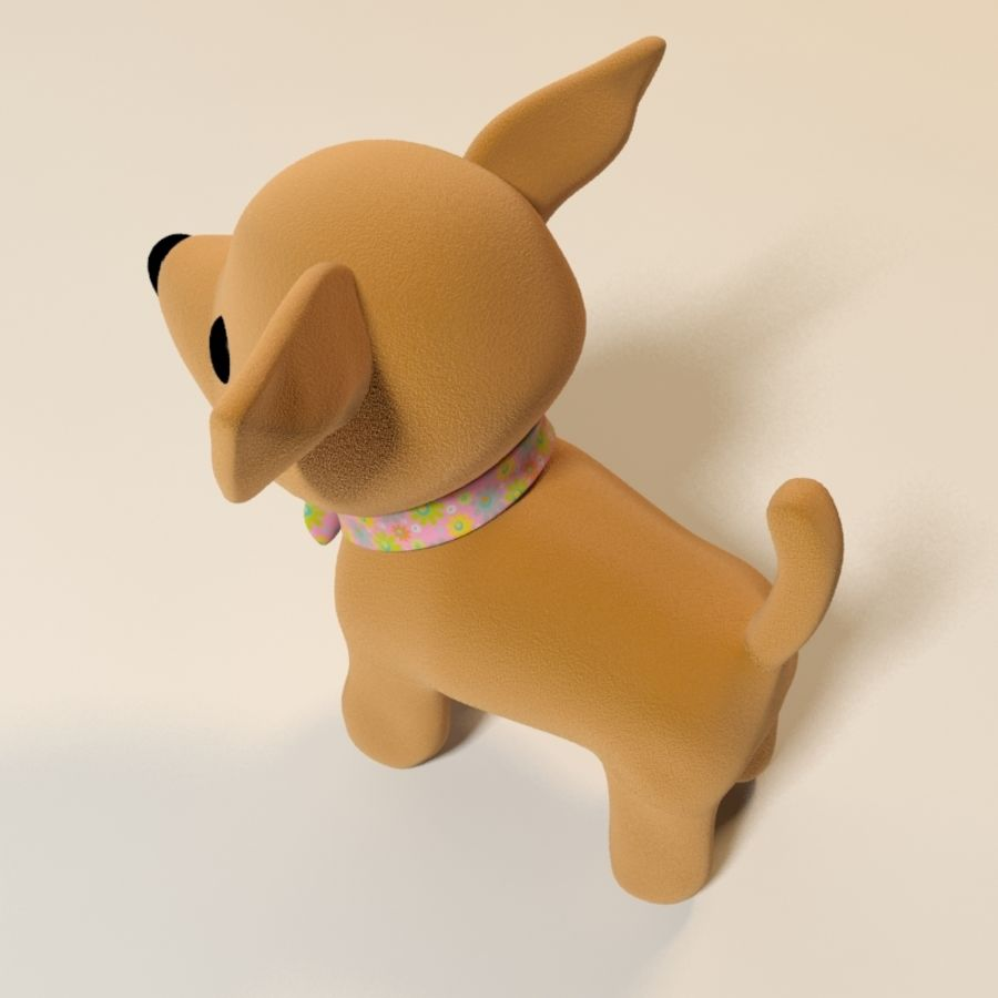 dog soft toy realistic royalty-free 3d model - Preview no. 7