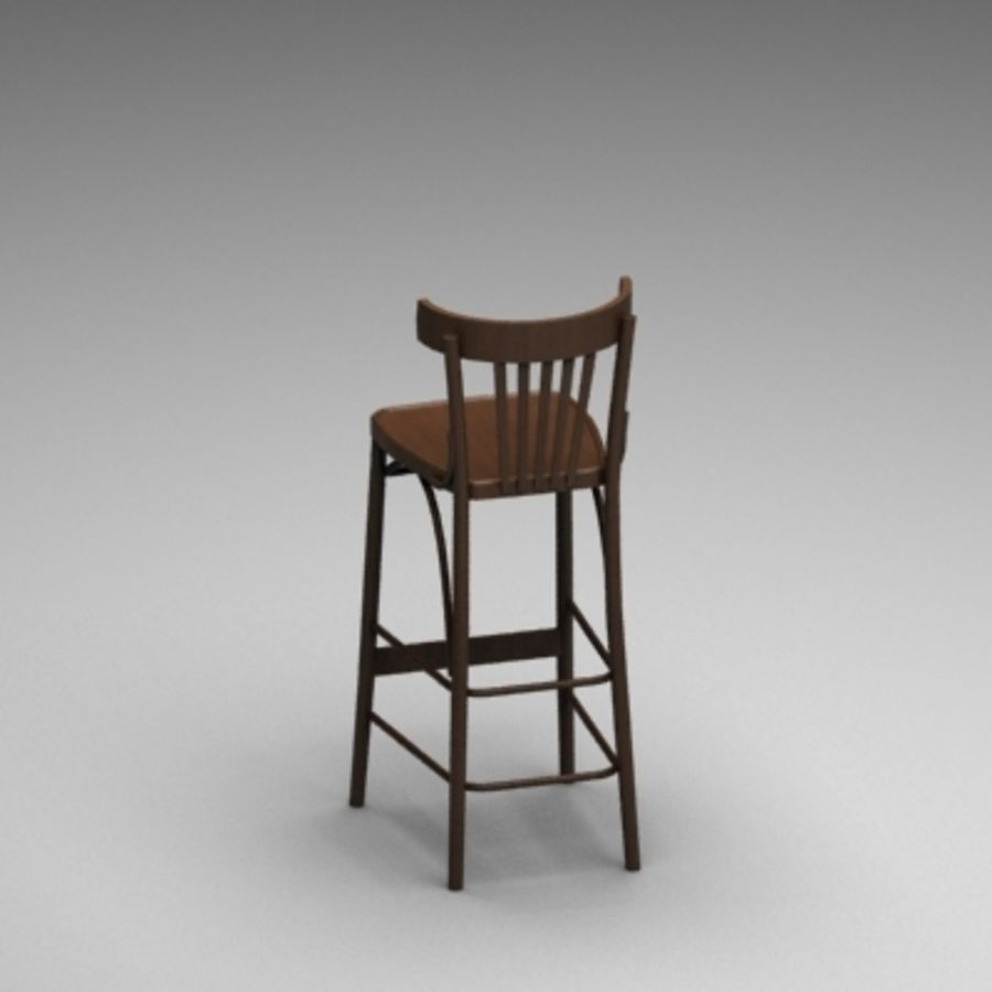 Pub Wood Bar chair royalty-free 3d model - Preview no. 3