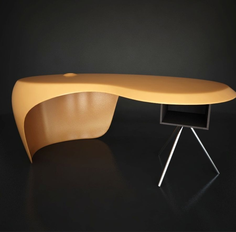 Uno Desk, design de Karim Rashid. Polyuréthane, bois et métal. royalty-free 3d model - Preview no. 2