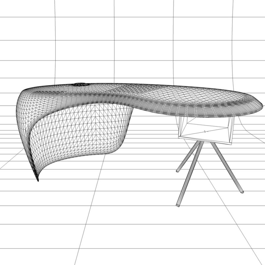 Uno Desk, design de Karim Rashid. Polyuréthane, bois et métal. royalty-free 3d model - Preview no. 5
