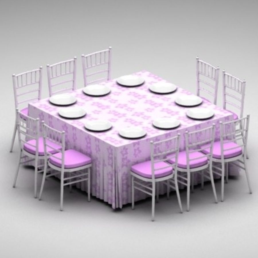 Table and Chairs Set royalty-free 3d model - Preview no. 4