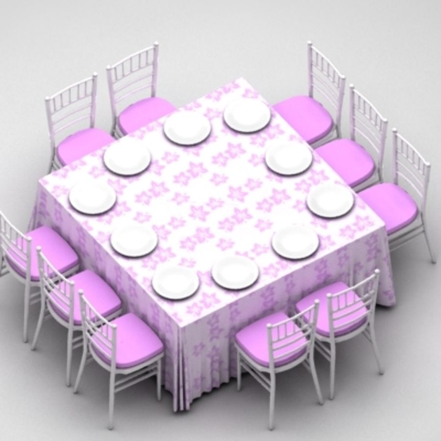 Table and Chairs Set royalty-free 3d model - Preview no. 2