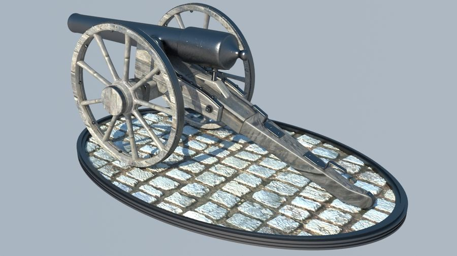 2 CIVIL WAR CANNONS royalty-free 3d model - Preview no. 4