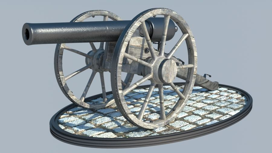 2 CIVIL WAR CANNONS royalty-free 3d model - Preview no. 2