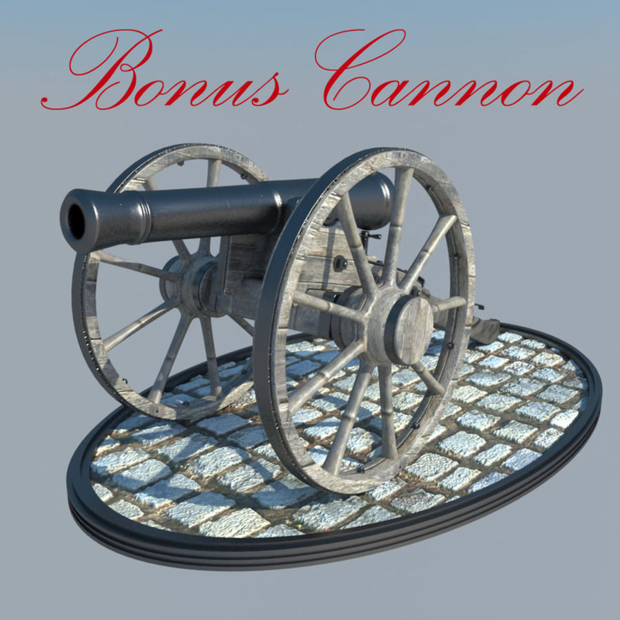 2 CIVIL WAR CANNONS royalty-free 3d model - Preview no. 5