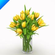 Yellow Tulips in vase 3d model