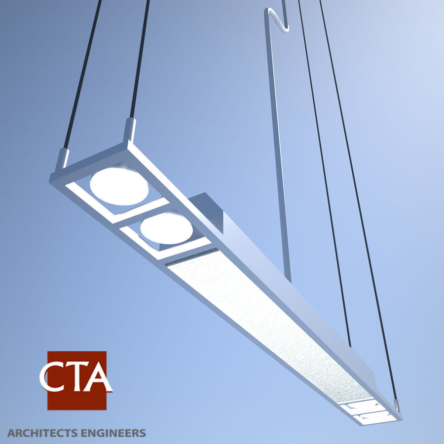 Fluorescent Ceiling Light royalty-free 3d model - Preview no. 2