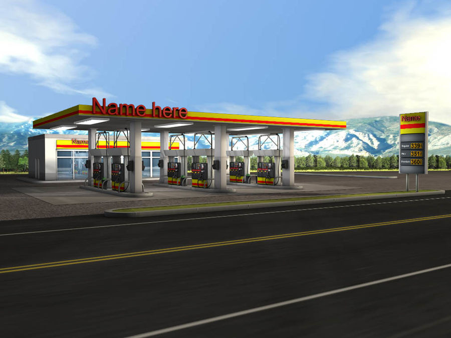 Gas Station royalty-free 3d model - Preview no. 3