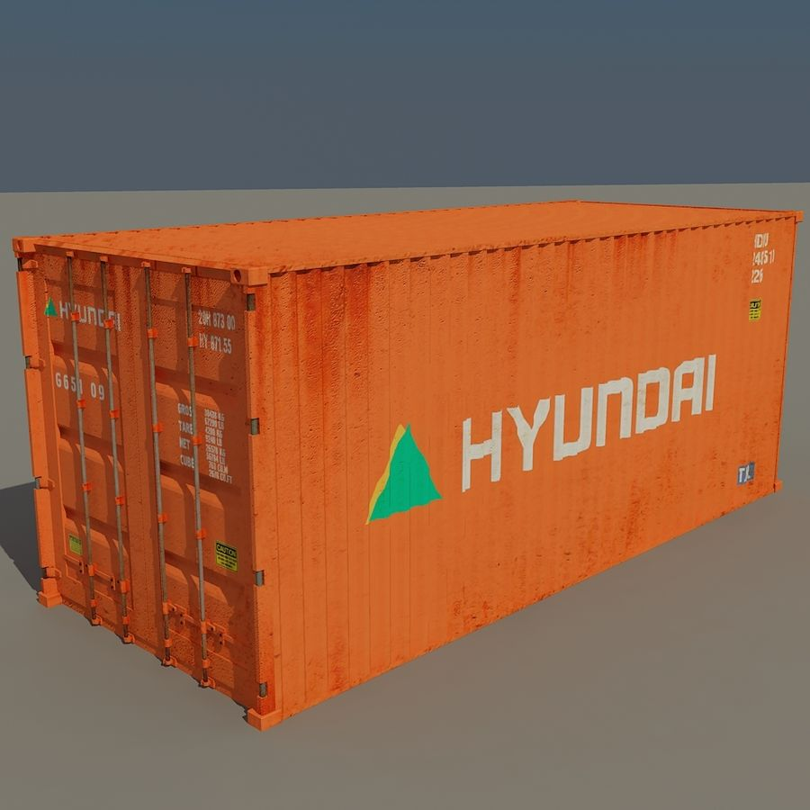 Cargo container Hyundai royalty-free 3d model - Preview no. 2