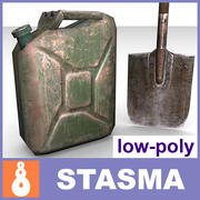 Jerrycan & shovel 3d model
