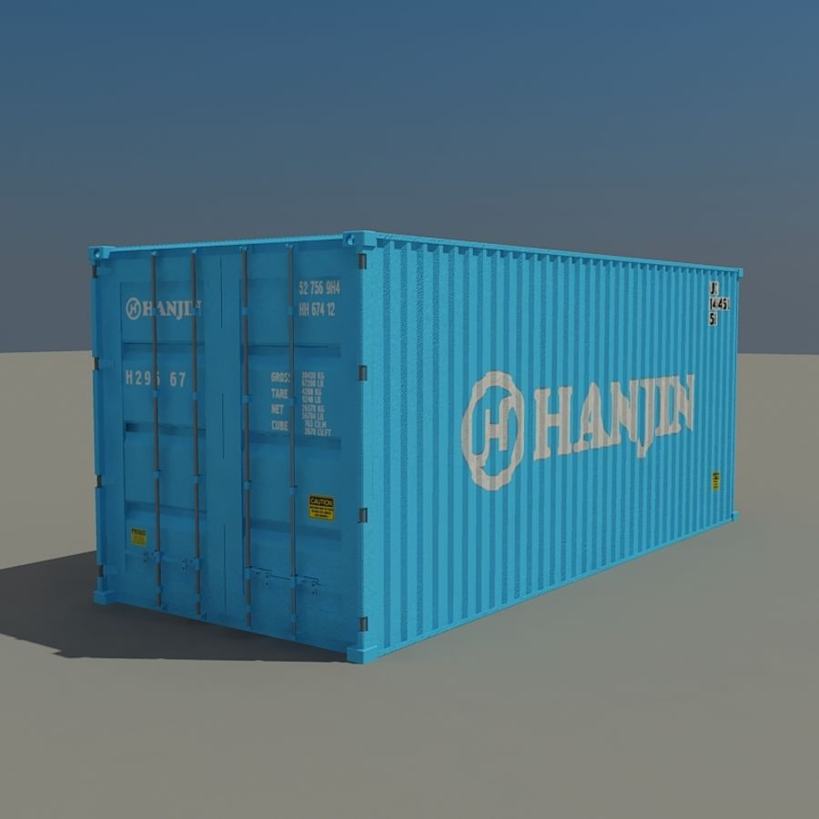 Cargo container Hanjin royalty-free 3d model - Preview no. 1