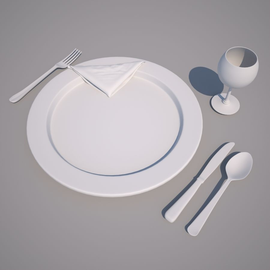 Dinning Set royalty-free 3d model - Preview no. 2
