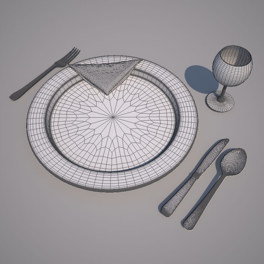 Dinning Set royalty-free 3d model - Preview no. 3