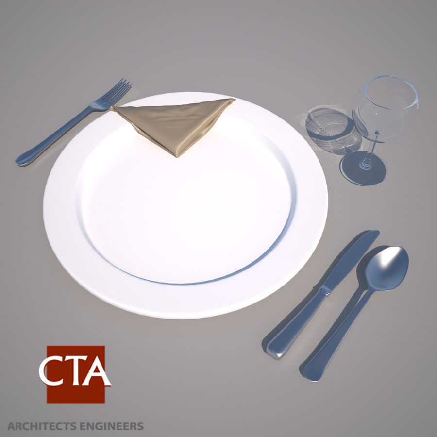 Dinning Set royalty-free 3d model - Preview no. 1