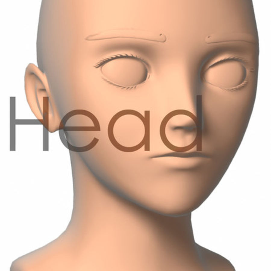 Anime Head Mesh(1) royalty-free 3d model - Preview no. 1