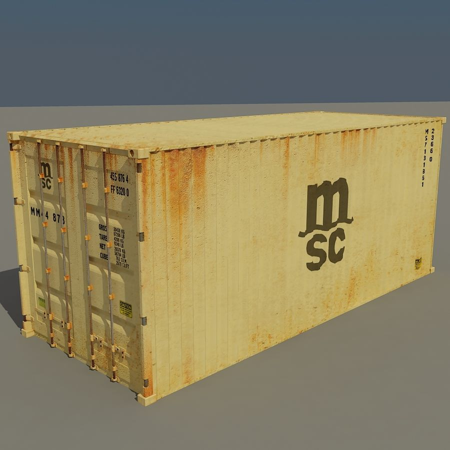 Cargo container MSC royalty-free 3d model - Preview no. 2
