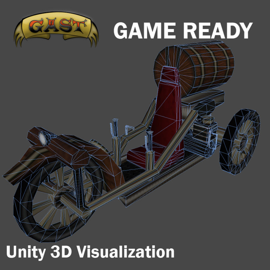 steampunk vehicle(1) royalty-free 3d model - Preview no. 4