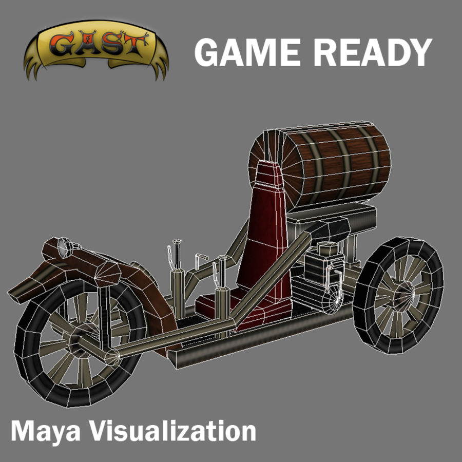 steampunk vehicle(1) royalty-free 3d model - Preview no. 8