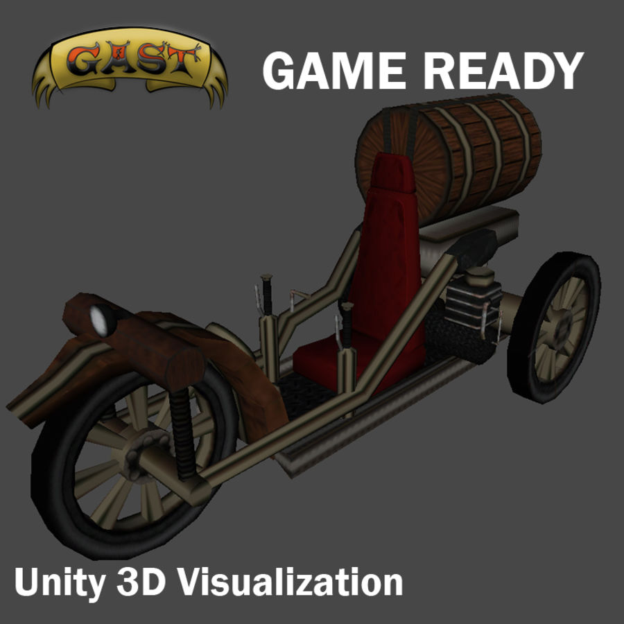 steampunk vehicle(1) royalty-free 3d model - Preview no. 3