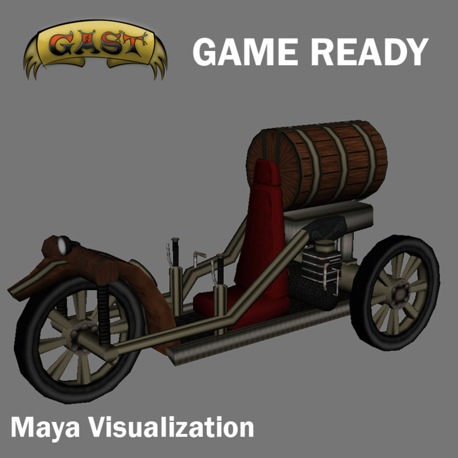 steampunk vehicle(1) royalty-free 3d model - Preview no. 7