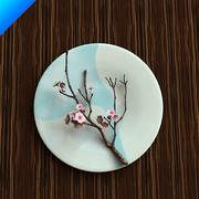 Plum Blossom In Ceramic Plate 3d model