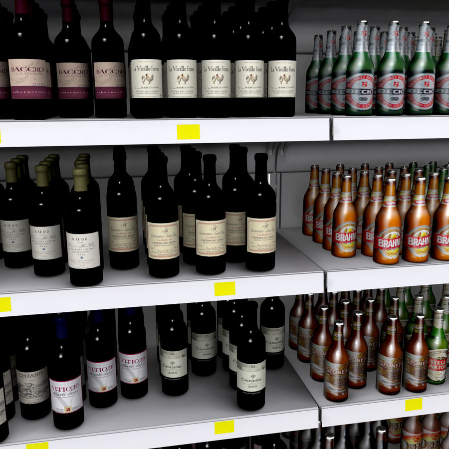 Wine-beer shelves royalty-free 3d model - Preview no. 4