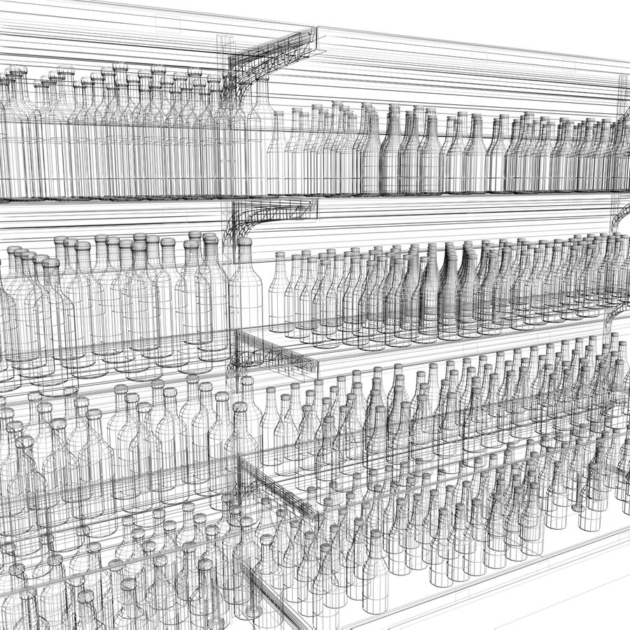 Wine-beer shelves royalty-free 3d model - Preview no. 6