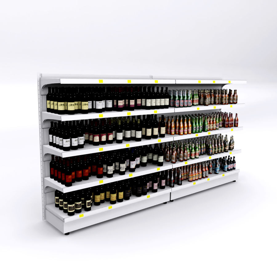 Wine-beer shelves royalty-free 3d model - Preview no. 3