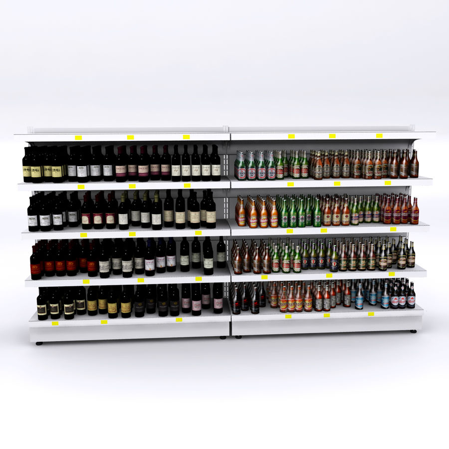 Wine-beer shelves royalty-free 3d model - Preview no. 2