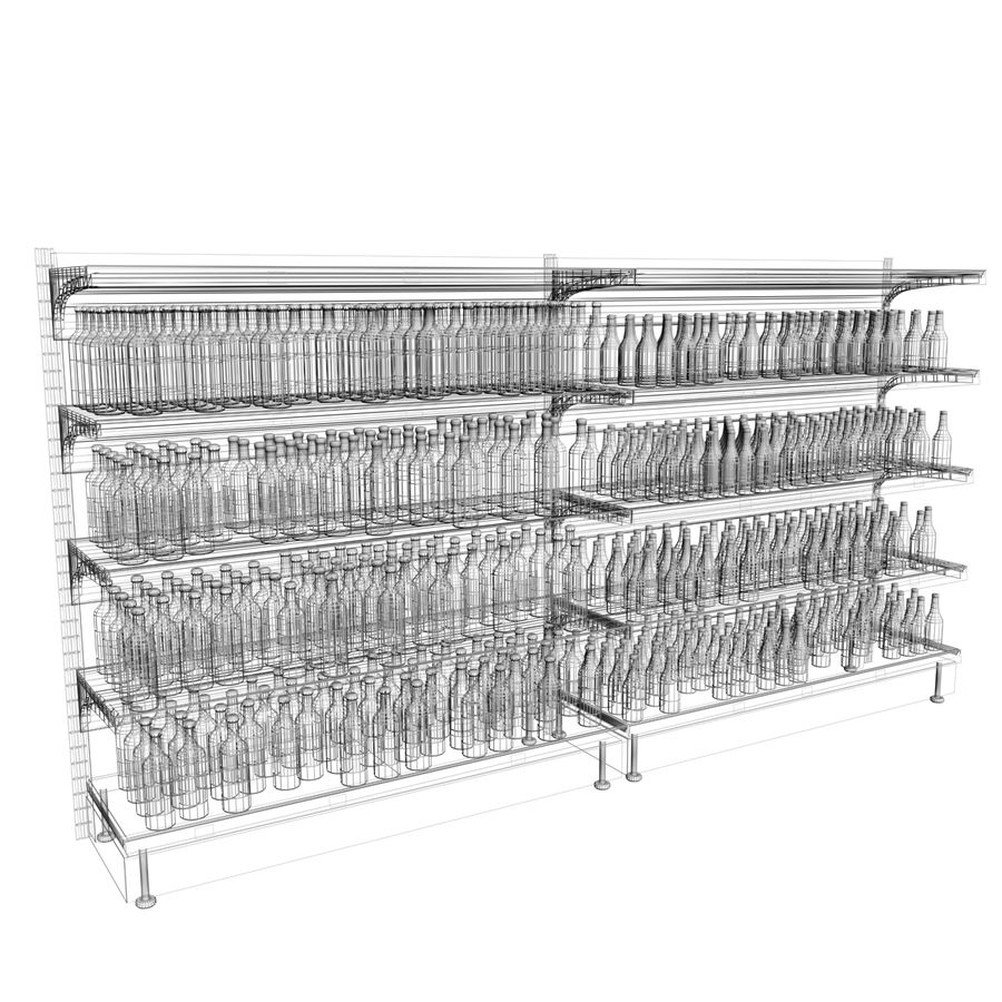 Wine-beer shelves royalty-free 3d model - Preview no. 5