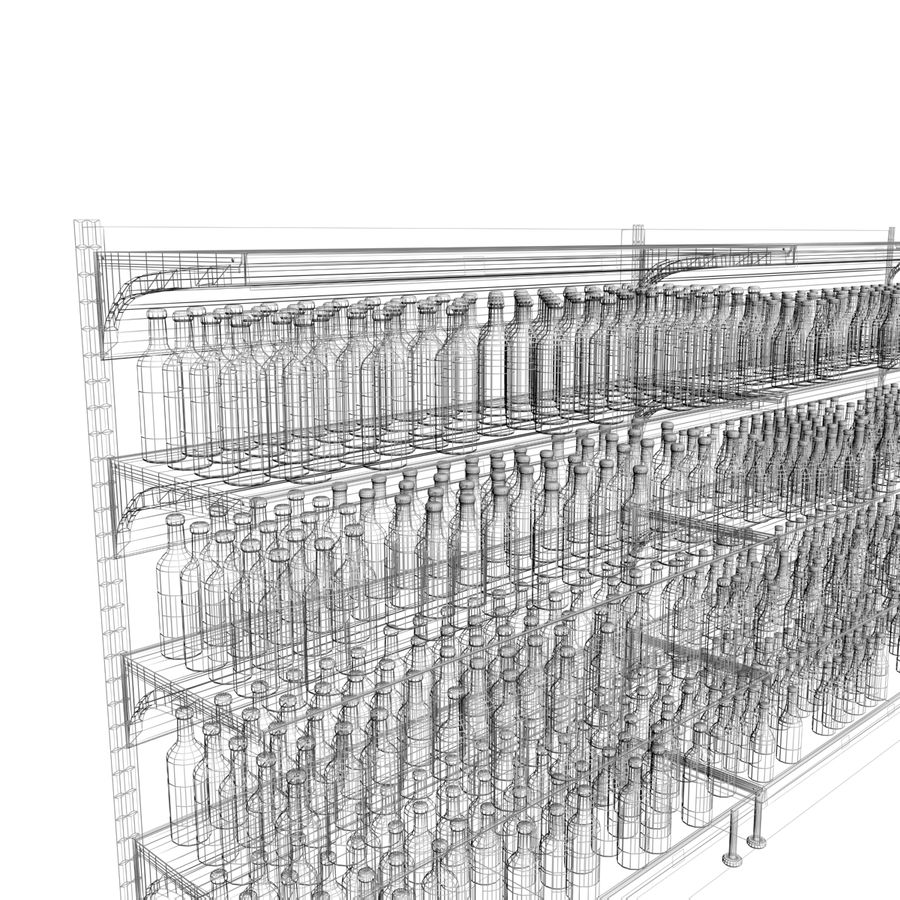 Wine-beer shelves royalty-free 3d model - Preview no. 7